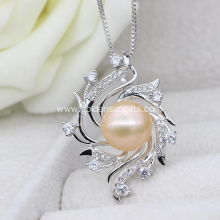 Fashion Designs Plating Silver Pearl Cage Pendant Necklace