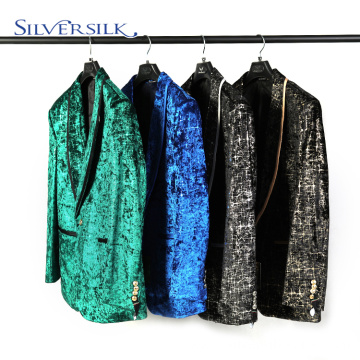 Velvent Print Dress Jacket Shawl Lapel Man Blazer
