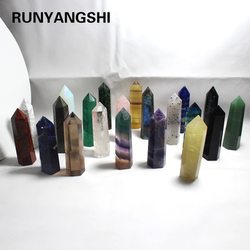 85-90mm Stone Point Tower Wicca Healing Crystal hexagon Natural Minerals Magic Wand Home Decor Wedding Amethyst Rose Quartz