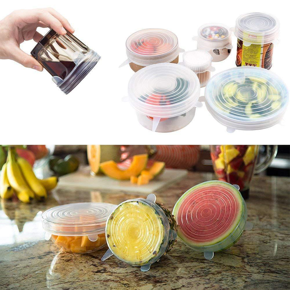 6pcs/set Silicone Lids Durable Reusable Food Save Cover Heat Resisting Fits All Sizes and Shapes of Containers