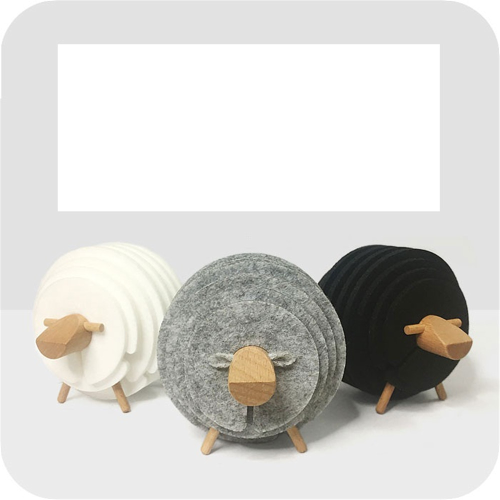 lovely sheep shape cup mat