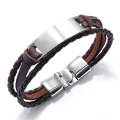 Mens brown leather cord bracelet blanks
