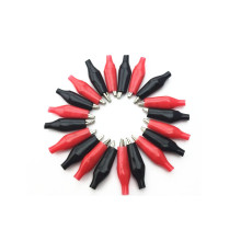 20PCS/lot 35MM Medium Size Metal Alligator Clip Electrical Clamp for Testing Probe Meter with Black and Red Plastic Boot