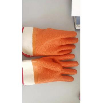 Brown PVC coated gloves acupuncture cotton linning