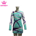 Turquoise long sleeve cheer outfit