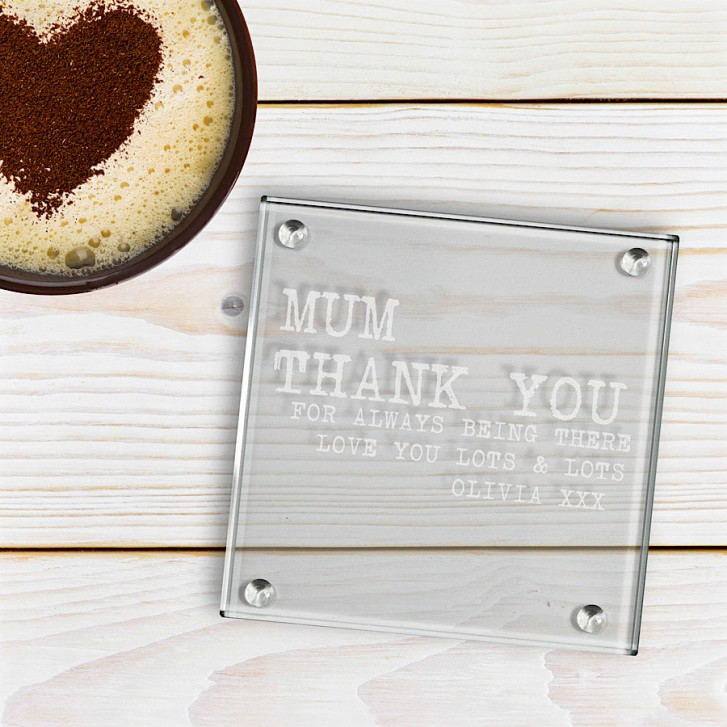Engraved Square Glass Coasters Thank You
