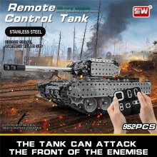 Wecute 952PCS 2.4G RC Military Tank DIY Assembly Set Stainless Steel RC Model Toys For Boys Adult RC Car DIY Puzzle Assembly Toy
