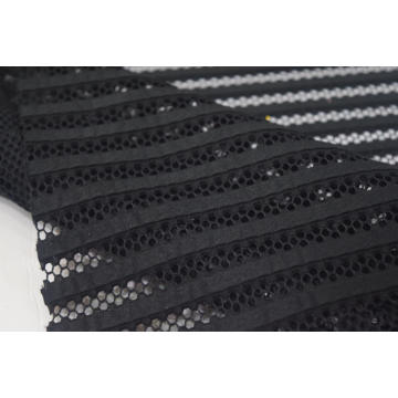 Polyester Black Stripe Mesh Fabric