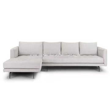 Parker Coconut White Fabric Left Sectional Sofa