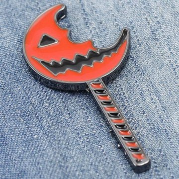Cute Funny Halloween Lantern Pins Brooches Orange Enamel Pumpkin Monster Brooch Pumpkin Lantern Lapel Pin Punk Jewelry Kids Gift