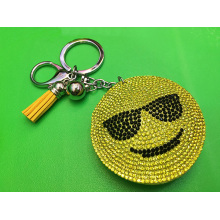 Yellow Smiley Faces Pendant Leather Fringed Keychain Bag Ornaments