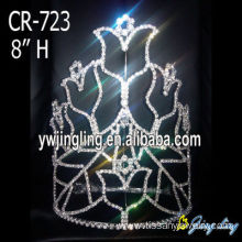 Holiday Rhinestone Flower Big Pageant Crowns