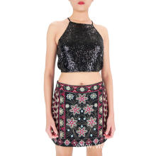 Embroidered Flowers Multi Colors Mini Skirts