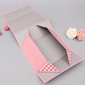 Custom Silver Logo Pink Magnetic Packaging Flap Box