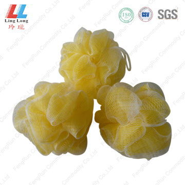 Yellow double mesh bath sponge