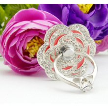 Fashion free rotation rosette diamond phone ring frame