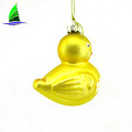glass yellow duck decorative animal figurines for Christmas
