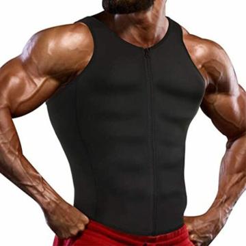 Neoprene Sweat Sauna Suit Men Waist Trainer Vest Zipper Belly Body Shaper Adjustable Tank Top Workout Shirt Thermal Underwear