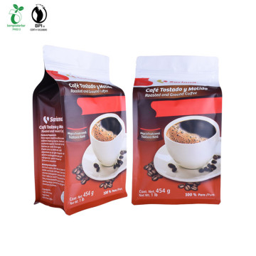 Custom Print Corn Starch Plastic Square Bottom Coffee Bag With Compostable Zipper and Valve