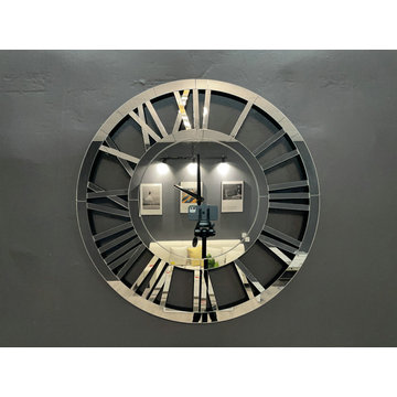 round mirrored electric clock