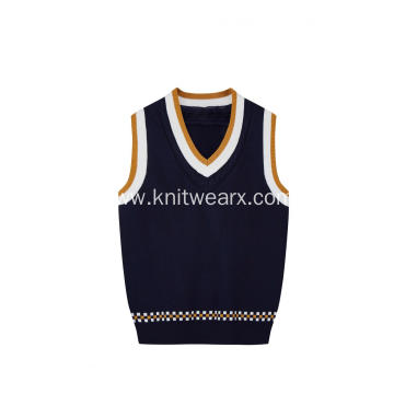 Boy's Knitted Contrast Top Barcode Hem School Vest