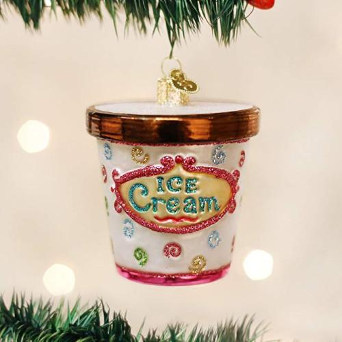 Ice Cream Shaped Glass Hand Painted Christmas Ornaments