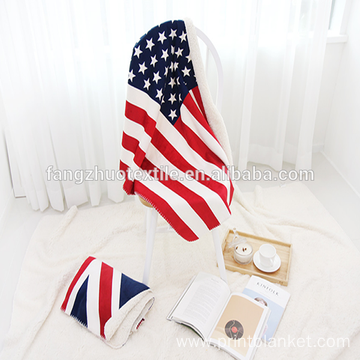 oversized USA flag coral fleece throw blanket 60*80inch