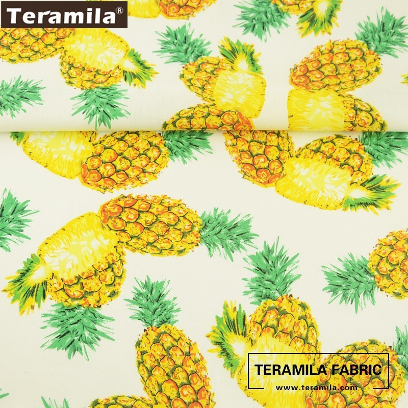 Teramila Cotton Poplin Fabric High Quality Bedding Clothing Fresh Pineapples Design Tissue Shirt Dress Crafts Patchwork Textile
