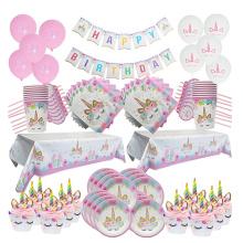 WEIGAO Unicorn Decoration Birthday Party Decor Kids Unicorn Disposable Tableware set Baby Shower Girl Birthday Party Supplies
