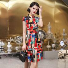 Summer Large Size Oriental Style Dresses Stretchable Cheongsam Short Plaid Young Modern Higth Elastic Cotton Hemp Soft Slim Qi