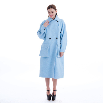 Fashion blue cashmere coat
