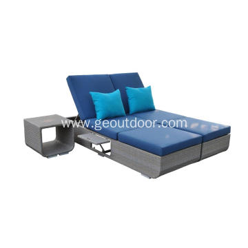 leisure UV-resistant blue rattan weaving sun bed