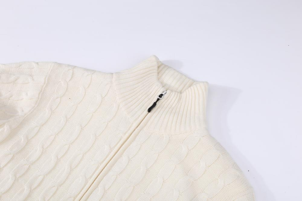 Men's Knitted All Cable Full Zip Lined Cardigan
