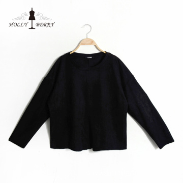 Hoodies Black Blank Women Casual Woven Cropped Sweatshirt