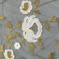 3D Flower Embroidery On Nylon Mesh Fabric