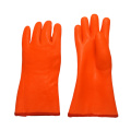 Fluorescent Double Dipped.Sandy Finish PVC Glove