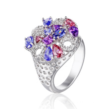 Elegant Fashion Round Ring with Colorful CZ