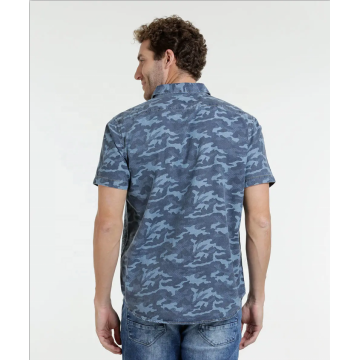Army printing cotton short sleeve Casual mens shirts