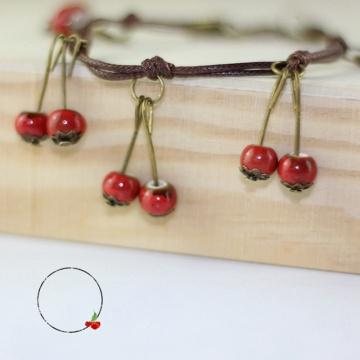 Creative Handmade Jewelry Sweet Small Fresh Cherry Fruit Ceramic Bracelet Simple Vintage Ethnic Style Girl Women Accessories