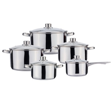 Induction stainless cooking pot and pan with handle