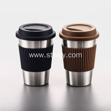 Stainless Steel Coffee Cup Straw Mug Silicone Cover
