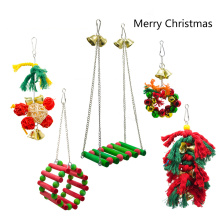 5pcs Parrot toy Christmas decoration set Chew toy swing stand