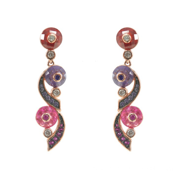 Sterling Silver Multicolor CZ Dangle Drop Earrings