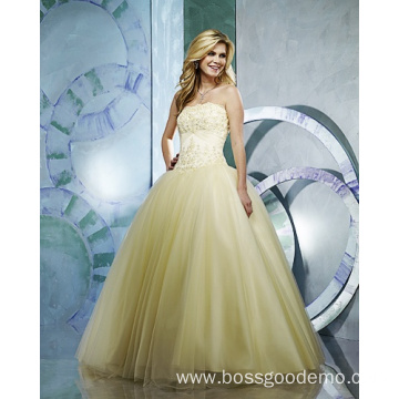 Ball Gown Strapless Yarn Floor-length Beading Ruffled Wedding Dress