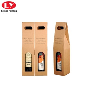 kraft paper wine box with die cut handle