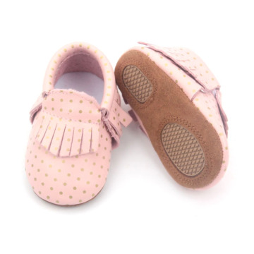 Cute Kids Pink Genuine Leather Spot Shoes