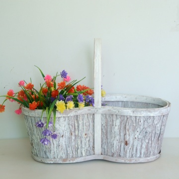Round white washed wood bark flower basket