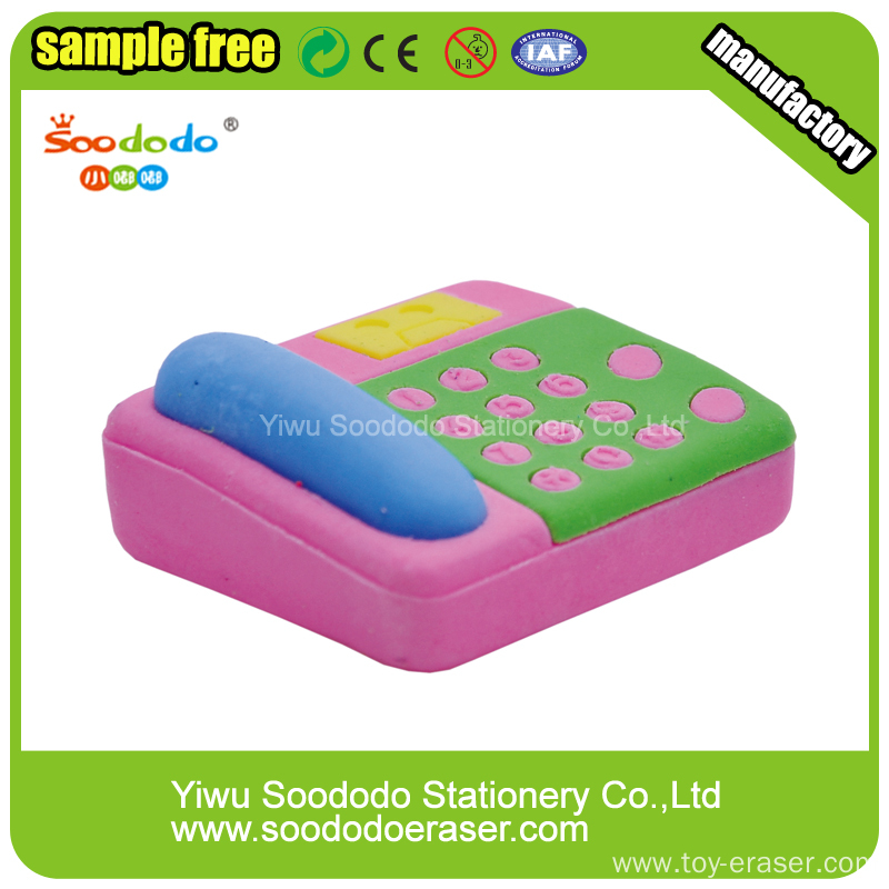 Pink Telephone  Eraser,highquality TPR Pencil stationery
