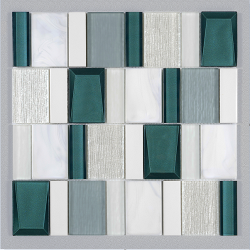 Geometric arrangement art modern glass mosaic tiles