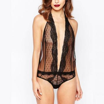 custom deep V dots mesh bodysuit oem